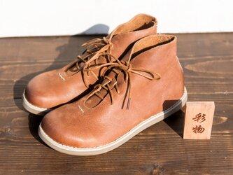 【受注製作】ふっくら丸みの牛革シューズ 丸トウ 靴  茶系 FM839の画像