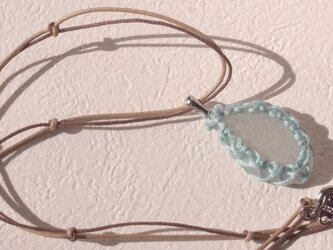 sea glass necklace light blue #1の画像