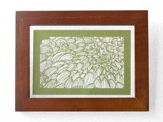 切り絵 菊 フローターフレーム 透明背景 抹茶の色渋紙の画像