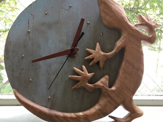 gecko wall clock maple frameの画像