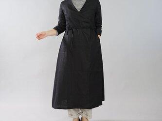 【wafu】中厚 リネン ワンピース コート 2way カシュクール ロング丈 7分袖 ガウン/ブラック h003b-bck2の画像