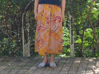 【アンティーク着物をリメイク】銘仙ギャザースカート(裏地付き)の画像