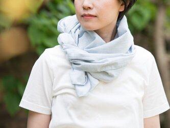 Organic Cotton薄手へリンボ―ン生地夏のマフラー[水色/45㎝幅]の画像