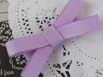 ★再販・りぼん★ 紫のシンプルなダブルリボンのヘアクリップの画像
