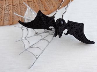 蝙蝠とクモの巣❖つまみ細工 かんざし ハロウィン/ゴスロリの画像