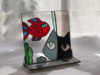 トレイ ( 小皿 ) 付きステンドグラススタンド 我、美を解する者なり! の画像