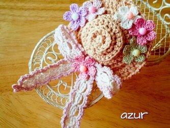 小花の帽子のコサージュ(小)の画像