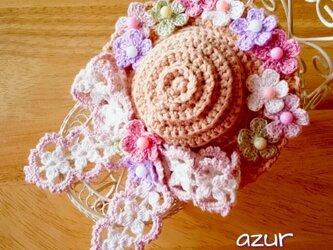 小花の帽子のコサージュ(大)の画像