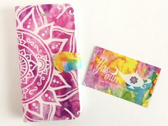 【春・夏】モロッコ風手描き曼荼羅柄 ピンクの手帳型iPhone/Androidケース(留め具pink)の画像