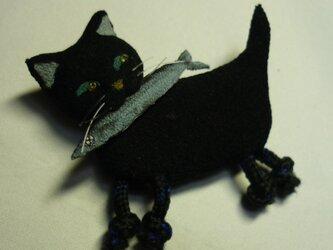 怪盗黒猫 サンマをくわえた黒猫ブローチの画像