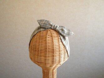 [sale!]リボンのヘアバンド グレーのチェックの画像