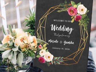 〜modern floral〜 ウェルカムボード印刷 gold 結婚式の画像