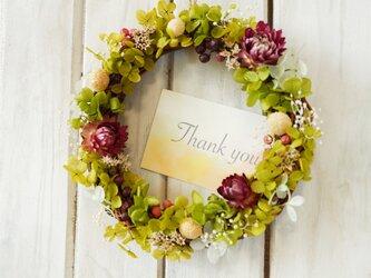 春にぴったり!野花のグリーンリース♪【本物のお花★プリザーブドフラワー】誕生日・結婚祝い・母の日に★ラッピング&カード有の画像