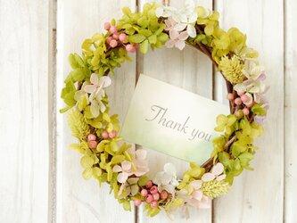 ピンクが可愛いグリーンリース♪【手入れ不要のプリザーブドフラワー】誕生日・結婚祝い・母の日に★ラッピング&カード有の画像