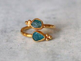 古代スタイル*天然アパタイト 原石 指輪*GP  サイズフリーの画像