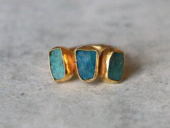 古代スタイル*天然ブルーアパタイト 原石 指輪*7号 GPの画像