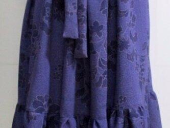 送料無料 花柄の着物で作った膝丈スカート 3460の画像