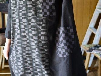 久留米絣モダン柄バルーンチュニックワンピースの画像