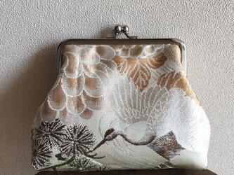 がまぐち・角型  ベージュ帯地 鶴柄 松竹梅の画像