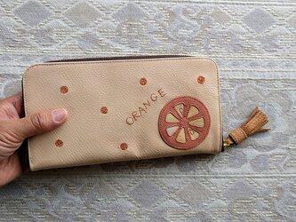 刺繍革財布『ORANGE』ピンク×サーモン(ヤギ革)ラウンドファスナー型の画像