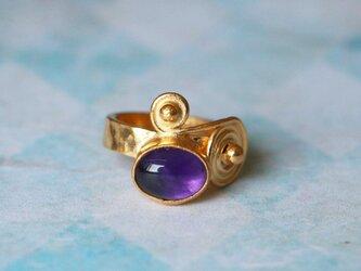 古代スタイル*天然アメジスト 指輪*9号 GPの画像