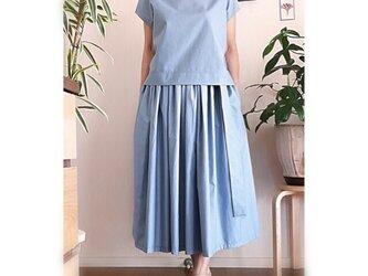 イタリー製 コットンツイルドット生地のギャザースカートの画像