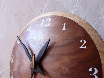 ブラックウォルナット奏 26㎝ 曲面時計euph 001s 文字盤白色の画像