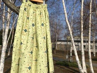 【受注製作】アイヌ チヂリ柄 コットン ギャザースカート オリジナルテキスタイル 鶯グリーンの画像