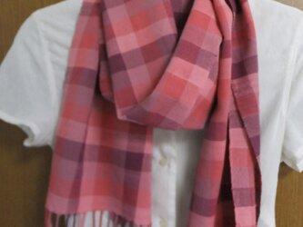 手織りレース糸マフラーの画像