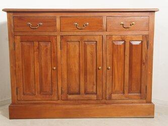 アンティーク調 マホガニー レジカウンター テーブル サイドボード 収納棚 レジ台 店舗什器 木目の画像