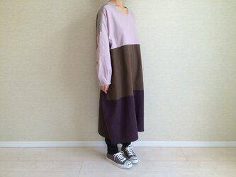 綿麻のコクーンワンピ003(ピンク×パープル×ブラウン)の画像