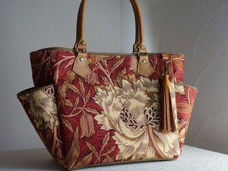 サイドポケットバッグS(英国輸入生地ウィリアムモリス:ハニーサックル&チューリップ赤茶色Ⅱ)の画像