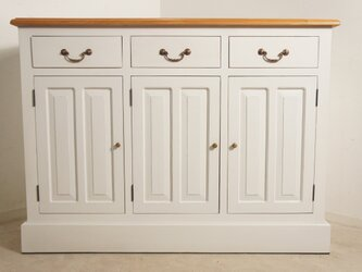 アンティーク調 マホガニー レジカウンター テーブル サイドボード 収納棚 レジ台 店舗什器 ホワイト 木目の画像