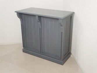 アンティーク調 マホガニー レジカウンター テーブル サイドボード レジ台 店舗什器 グレーの画像
