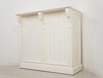 アンティーク調 マホガニー レジカウンター テーブル サイドボード レジ台 店舗什器 ホワイトの画像