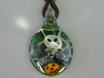 ジャック、ハロウィンNO.5(ガラス、ネックレス、蜘蛛、カボチャ、グリーン)の画像