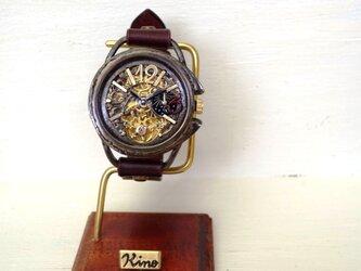 ナインAT 真鍮 ワインブラウン 手作り腕時計の画像