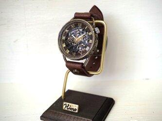 メカニックブラック AT ブラウン 真鍮 手作り腕時計の画像