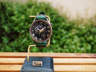 メカニックブラック AT グリーン 真鍮 手作り腕時計の画像