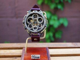 キノパンクワールド 真鍮 ワインブラウン 手作り腕時計の画像