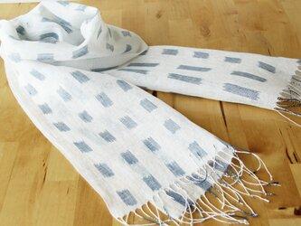 手織りリネンストール 絣・雨の画像