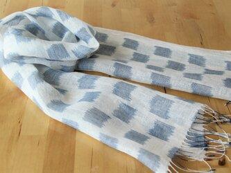 手織りリネンストール 絣・石畳の画像