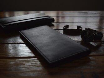 [マツ様特注] 栃木レザー ロングウォレット(BLACK) MNW-04ドロップハンドルカスタムの画像