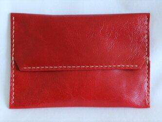 革のポケットティッシュカバー(赤:レッド)の画像