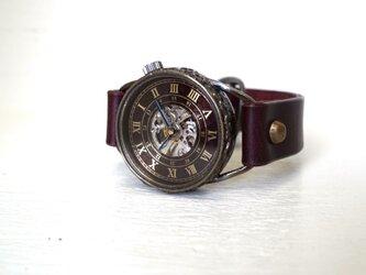 メカニックワールド SV/MOV Mサイズ 真鍮 ワインブラウン 手作り時計の画像
