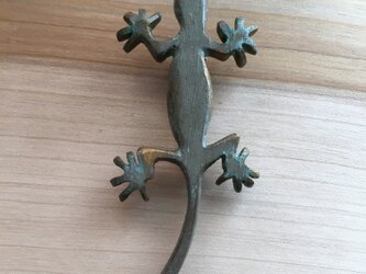 bronze gecko brooch 0423の画像