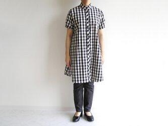 播州織コットン*ふわっとゆったりチュニック(黒×アイボリー・ギンガムチェック)の画像