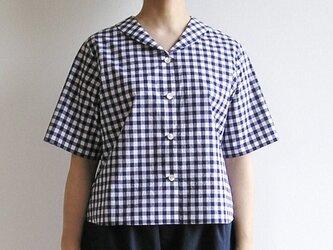 播州織コットン*ヘチマカラーのクラシカル・ブラウス(青×白・ギンガムチェック)の画像