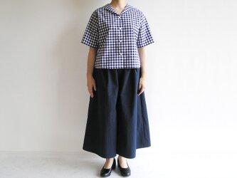 播州織*基本の紺色キュロットスカート(コットン×ポリエステル混紡生地)の画像