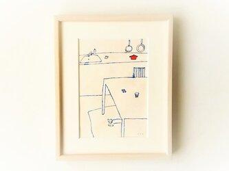 「キッチンと犬」イラスト原画 ※額縁入りの画像